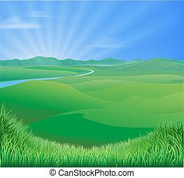 сельский, пейзаж, иллюстрация