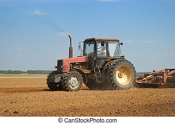 сельское хозяйство, ploughing, трактор, на открытом воздухе