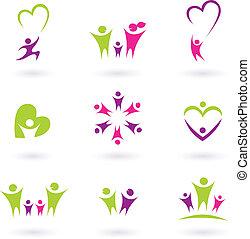 семья, люди, (, п, отношения, значок, коллекция, розовый, зеленый