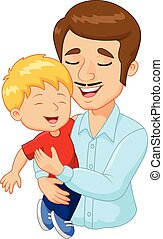 семья, отец, мультфильм, держа, счастливый
