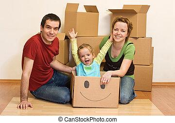 семья, пол, сидящий, их, новый, главная, счастливый