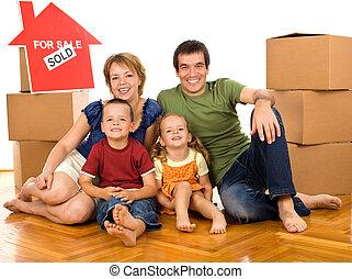 семья, boxes, перемещение, новый, главная, картон, счастливый