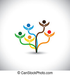 семья, eco, -, concept., дерево, вектор, командная работа, значок