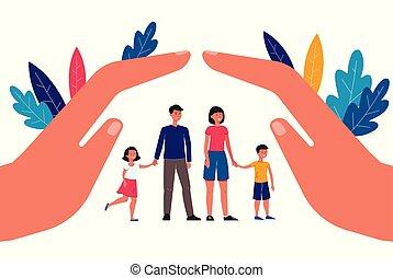 семья, kids, страхование, isolated., parents, вектор, концепция, квартира, иллюстрация