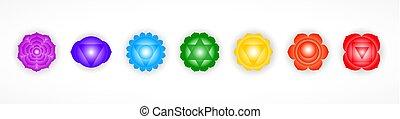 семь, symbols, background., дизайн, объект, chakras, isolated, белый, красочный, задавать