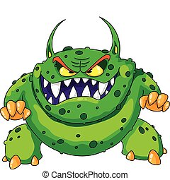 сердитый, зеленый, монстр