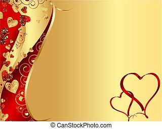 сердце, абстрактные, волнистый, рамка, красный