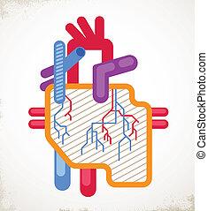 сердце, болезнь, атака, человек, здоровье, значок