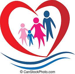 сердце, вектор, семья, логотип