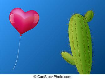 сердце, воздушный шар, кактус