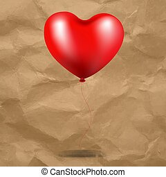 сердце, воздушный шар, картон, красный, задний план