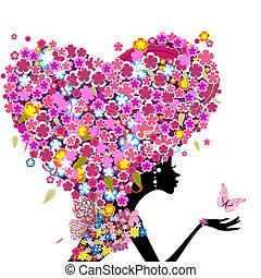 сердце, глава, ее, форма, девушка, цветы