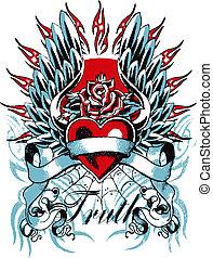 сердце, готика, крыло