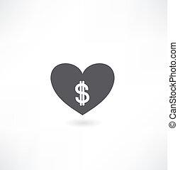 сердце, деньги, значок
