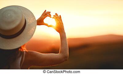 сердце, женщина, palms, природа, fingers, форма, закат солнца, ваш, счастливый