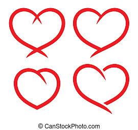 сердце, задавать, красный