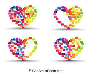 сердце, задавать, красочный, абстрактные, valentines, isolated, shapes, сделал, задний план, day., elements