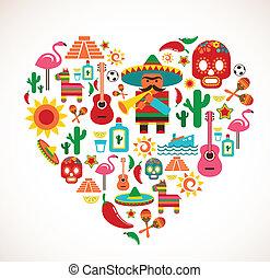 сердце, задавать, люблю, icons, мексика, -, вектор
