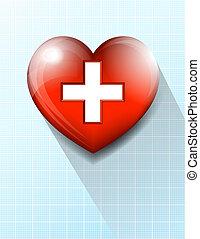 сердце, задний план, символ, медицинская