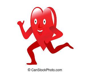 сердце, здоровый, weights, упражнение, lifting, depicting, мультфильм, красный
