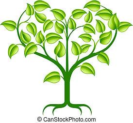 сердце, зеленый, дерево, иллюстрация