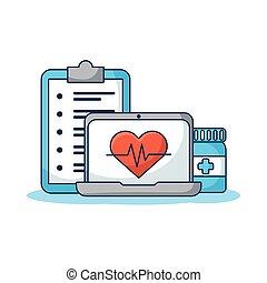 сердце, компьютер, заказ, портативный компьютер, cardio, telemedicine