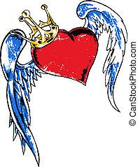 сердце, летающий, корона, иллюстрация