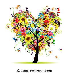 сердце, лето, цветочный, дерево, форма