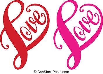 сердце, люблю, вектор, красный, дизайн