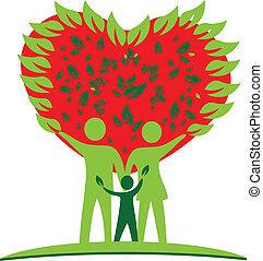 сердце, люблю, дерево, логотип, семья