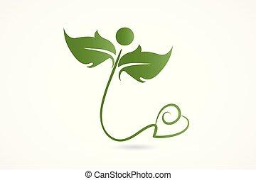 сердце, люблю, природа, здоровье, leafs, логотип