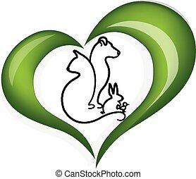 сердце, люблю, собака, кот, кролик, логотип