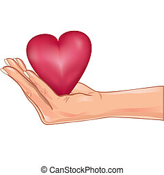сердце, над, isolated, рука, держа, белый, красный