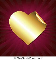 сердце, наклейка, золото