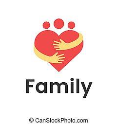 сердце, объятие, группа, семья, люди, graphic., вектор, дизайн, шаблон, логотип, абстрактные
