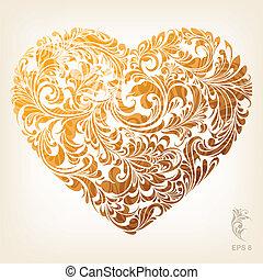 сердце, орнаментальный, золото, шаблон
