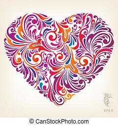 сердце, орнаментальный, цветной, шаблон