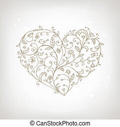 сердце, орнамент, форма, дизайн, цветочный, ваш