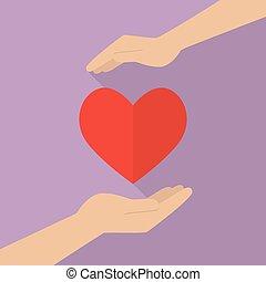 сердце, руки, держа, значок