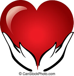 сердце, руки, держа, логотип