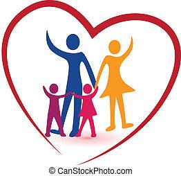 сердце, семья, красный, логотип