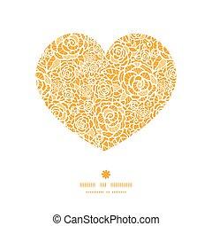 сердце, силуэт, шнурок, золотой, шаблон, рамка, roses, вектор