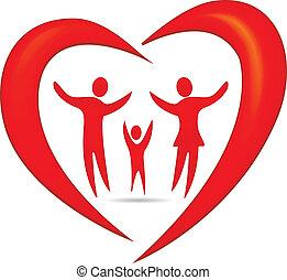 сердце, символ, вектор, семья