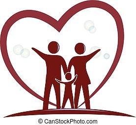 сердце, символ, люблю, семья, логотип