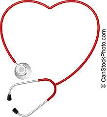 сердце, символ, стетоскоп