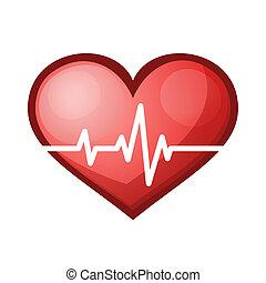сердце, ставка, healthcare, иллюстрация, бить, вектор, значок