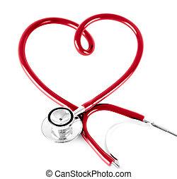 сердце, стетоскоп, isolated, белый, форма