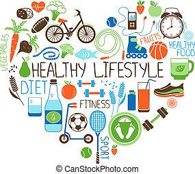сердце, стиль жизни, диета, знак, фитнес, здоровый