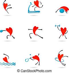 сердце, фитнес, icons
