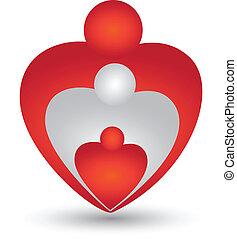 сердце, форма, вектор, семья, логотип